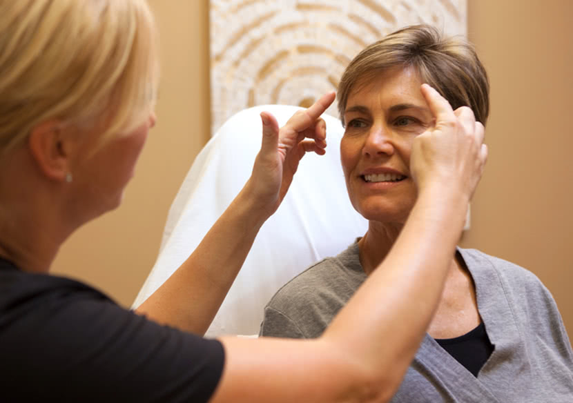 Woman seeing an Ultherapy provider