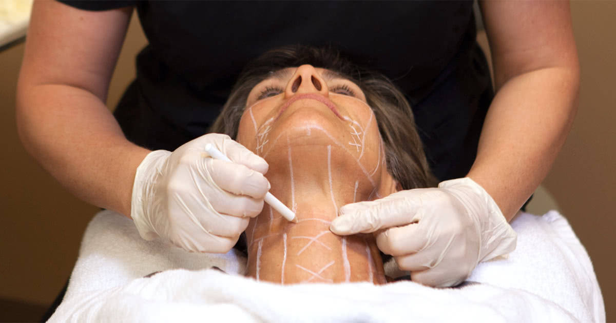 Healthcare professional giving facelift